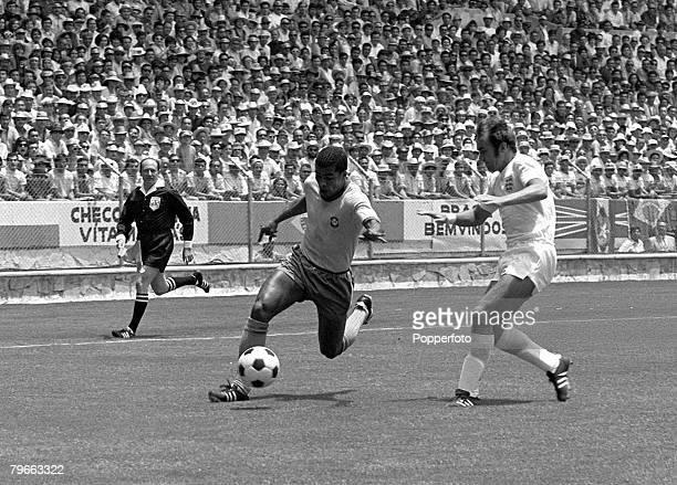 Sport Football World Cup Finals Guadalajara Mexico 7th June 1970 Group 3 Brazil 1 v England 0 Brazil's Jairzinho gets around England's Terry Cooper