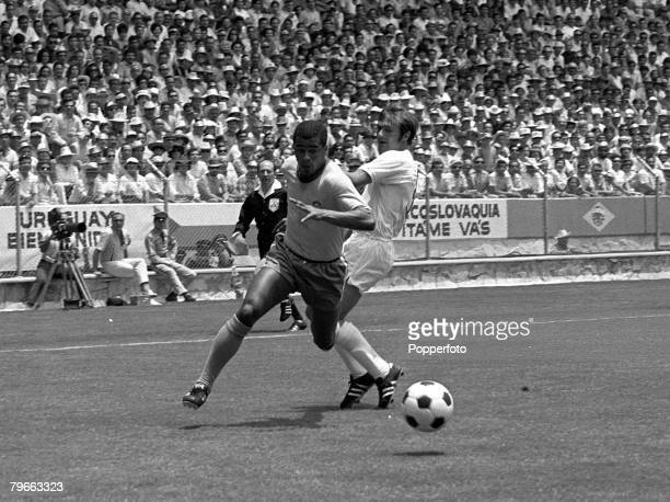 Sport Football World Cup Finals Guadalajara Mexico 7th June 1970 Group 3 Brazil 1 v England 0 Brazil's Jairzinho gets around England's Terry Cooper