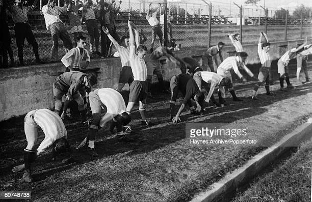 Sport Football World Cup Finals Italy Argentine team members training prior to one of their matches during the tournament