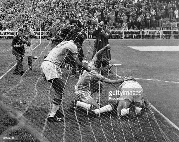 Sport Football World Cup Finals July 1958 Sweden Quarter Final Brazil 1 v Wales 0 The Brazilian players rush to congratulate Pele in the back of the...