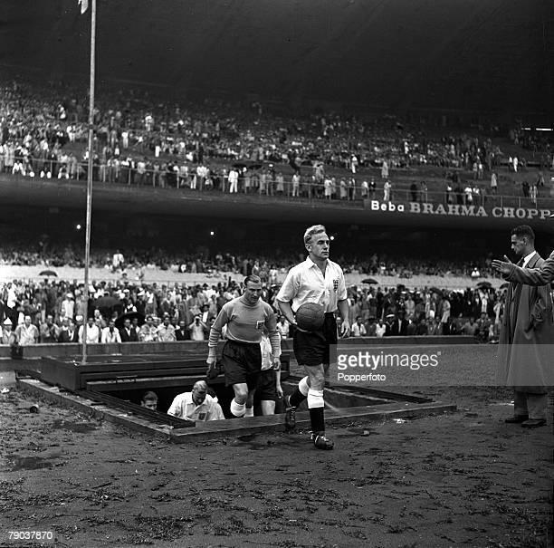 Sport Football World Cup Finals Maracana Stadium Rio de Janeiro Brazil 25th June 1950 Group 2 England 2 v Chile 0 England captain Billy Wright leads...