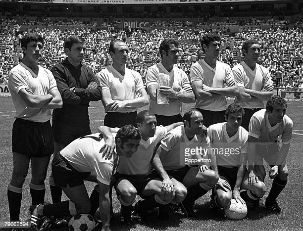 Sport Football World Cup Finals Mexico City 14th June 1970 Quarter Final Uruguay 1 v Soviet Union 0 The Uruguay team line up together for a group...