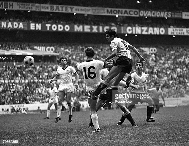 Sport Football World Cup Finals Mexico City 20th June 1970 Third/Fourth Place Playoff West Germany 1 v Uruguay 0 Goalmouth action during the match in...