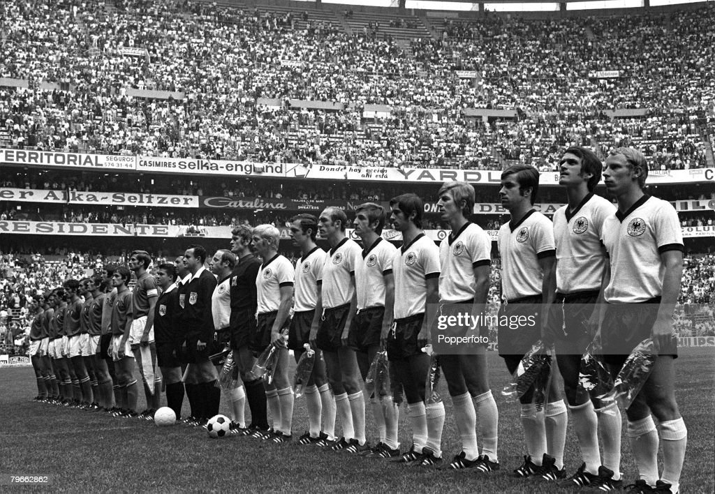 Sport, Football, World Cup Finals, Mexico City, Mexico, 17th June 1970, Semi-Final, Italy 4 v West Germany 3 (after extra time), The two teams line-up together for the national anthems prior to the game : News Photo