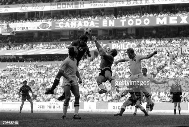 Sport Football World Cup Finals Mexico City Mexico 6th June 1970 Group One Russia 4 v Belgium 1 Belgium goalkeeper Christian Piot punches clear from...