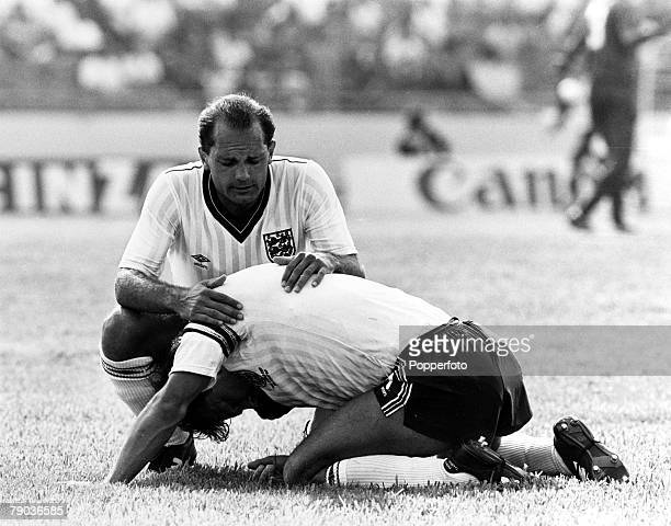 Sport Football World Cup Finals Monterrey Mexico 6th June 1986 Group F England 0 v Morocco 0 Ray Wilkins comforts England Captain Bryan Robson after...