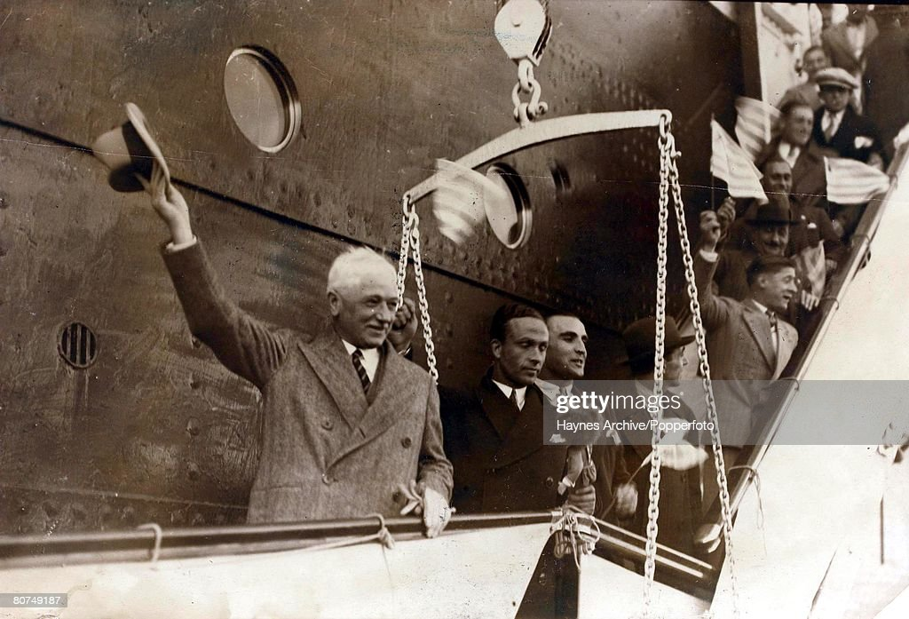 Sport Football. World Cup Finals. Montevideo,Uruguay. 1930. F.I.F.A. President Jules Rimet waves as he arrives to attend the first World Cup tournament. : News Photo