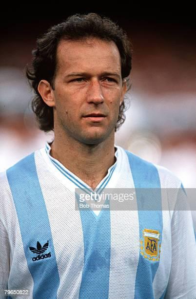 Sport Football World Cup Finals Naples 3rd July 1990 SemiFinal Argentina 1 v Italy 1 A portrait of Argentina's Gabriel Calderon