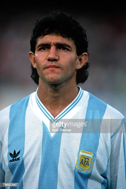 Sport Football World Cup Finals Naples 3rd July 1990 SemiFinal Argentina 1 v Italy 1 A portrait of Argentina's Jorge Burruchaga