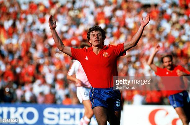 Sport Football World Cup Finals Queretaro Mexico 18th June 1986 Second Round Spain 5 v Denmark 1 Spain's Emilio Butragueno celenrates after scoring...