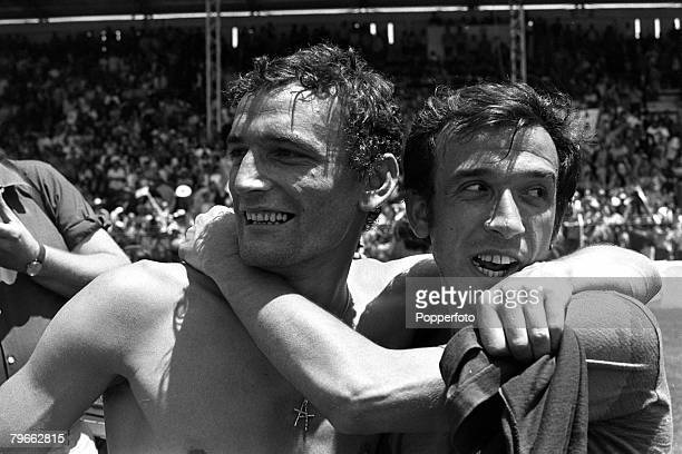 Sport Football World Cup Finals Toluca Mexico 14th June 1970 Quarter Final Italy 4 v Mexico 1 Italy's Gigi Riva celebrates with teammate Pierluigi...