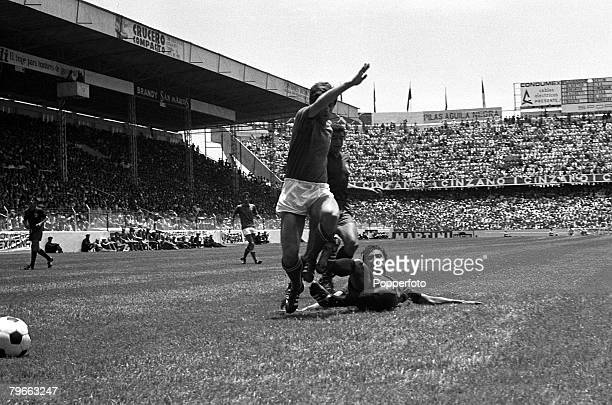 Sport Football World Cup Finals Toluca Mexico 14th June 1970 Quarter Final Italy 4 v Mexico 1 Italy's Gianni Rivera is tackled by a Mexico defender