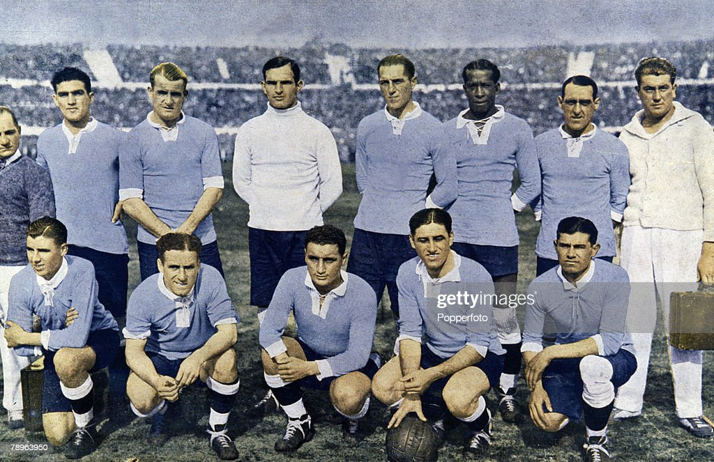 Sport, Football, World Cup Finals, 1930, Uruguay, The first World Champions, Uruguay line up after defeating Argentina 4-2 in the World Cup Final at the Centenary Stadium, Montevideo