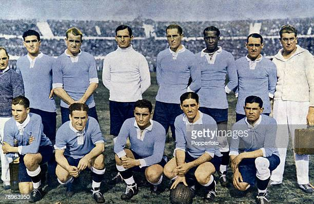 Sport Football World Cup Finals Uruguay The first World Champions Uruguay line up after defeating Argentina 42 in the World Cup Final at the...