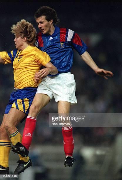 Sport Football World Cup Qualifier pic 28th April 1993 France 2 v Sweden 1 France's Laurent Blanc rises above Sweden's Tomas Brolin