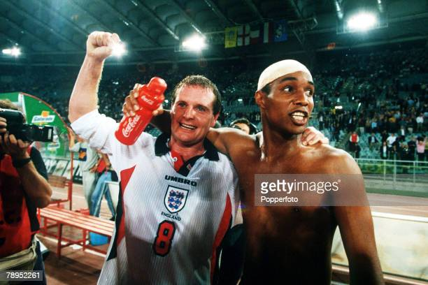 Sport Football World Cup Qualifier Rome Italy 11th October 1997 Italy 0 v England 0 England's Paul Gascoigne and Paul Ince celebrate at the final...