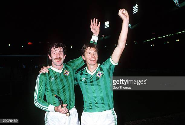 Sport Football World Cup Qualifier Wembley London England 13th November 1985 England 0 v Northern Ireland 0 Northern Ireland's Gerry Armstrong and...