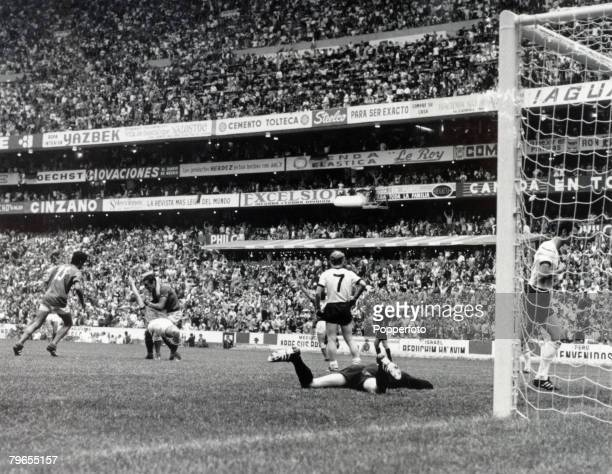 Sport Football World Cup SemiFinal Azteca Stadium Mexico 17th June 1970 Italy 4 v West Germany 3 West Germany's golakeeper Sepp Maier is beaten by...