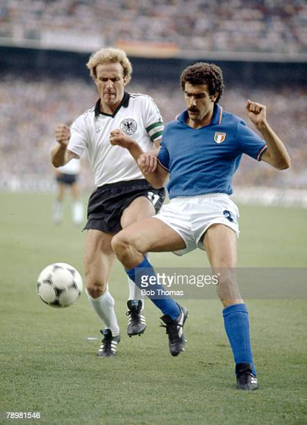 Sport Football1982 World Cup Final Madrid Spain 11th July Italy 3 v West Germany 1 Italy's Giuseppe Bergomi battles for the ball with West Germany's...
