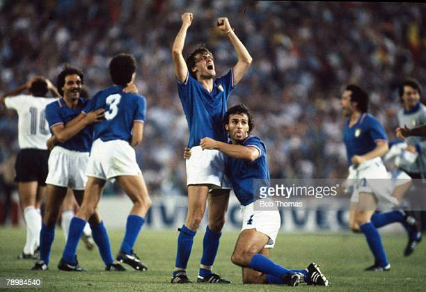 Sport Football1982 World Cup Final Madrid Spain 11th July Italy 3 v West Germany 1 Italy's Marco Tardelli and Antonio Cabrini celebrate victory at...
