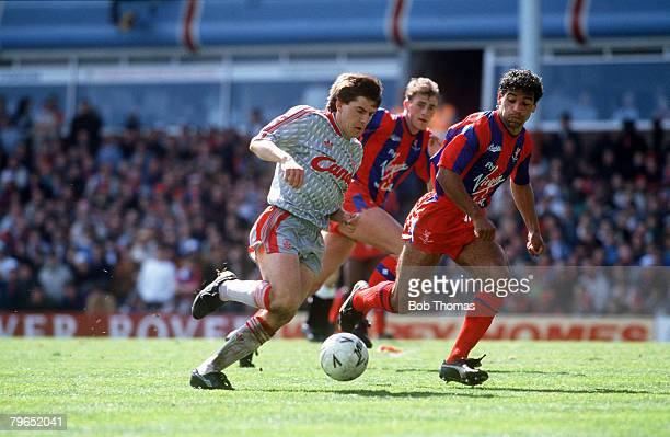 8th April 1990 FA Cup SemiFinal Villa Park Crystal Palace 4 v Liverpool 3 Liverpool's Peter Beardsley closely watched by Crystal Palace's Richard Shaw
