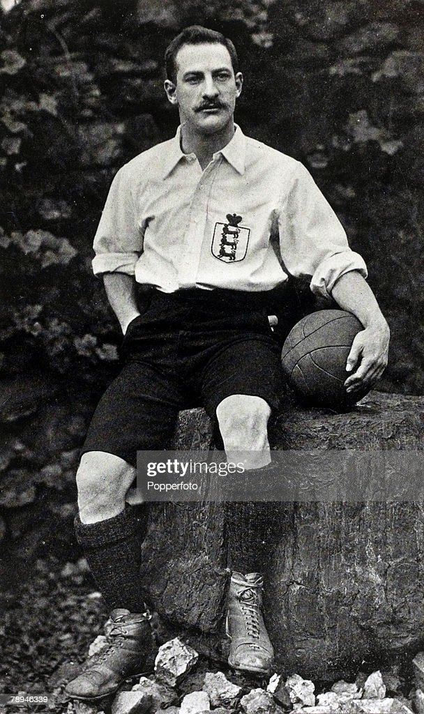 circa 1895, William Isiah Bassett, West Bromwich Albion and England, Bassett, pictured here in England strip, played for England 1886-1896 winning 16 caps
