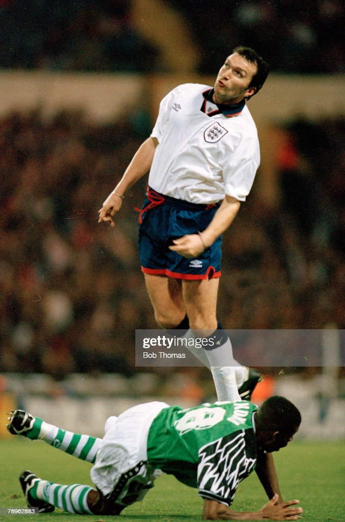 Sport. Football.pic: circa 1995.Friendly International at Wembley. England 1 v Nigeria 0. Neil Ruddock, England, who won his 1 solitary England international cap in this match. : News Photo