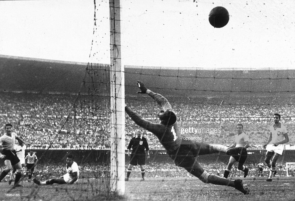 Sport. Football.World Cup Final, 1950. Brazil. Maracana Stadium, Rio De Janeiro. Brazil 1 v Uruguay 2. 16th July, 1950. Uruguay's Ghiggia scores the winning goal past the dive of Brazilian goakeeper Barbosa to win the World Cup for Uruguay and complete a  : News Photo