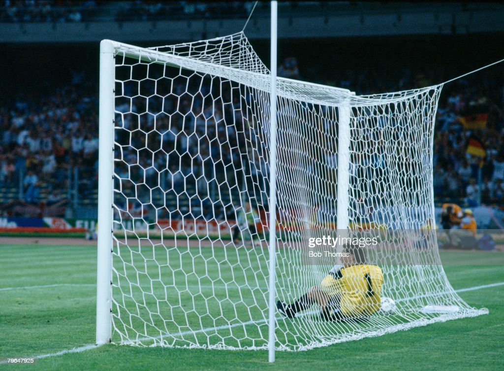 Sport, Football,,World Cup Finals, Semi-Final, 4th July 1990, Turin, West Germany (1) vs, England (1), West Germany win 4-3 on Penalties, Englands Peter Shilton beaten by Andreas Brehme's deflected shot for West Germany's goal sits dejected in the back of the goal
