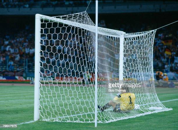 Sport FootballWorld Cup Finals SemiFinal 4th July 1990 Turin West Germany vs England West Germany win 43 on Penalties Englands Peter Shilton beaten...