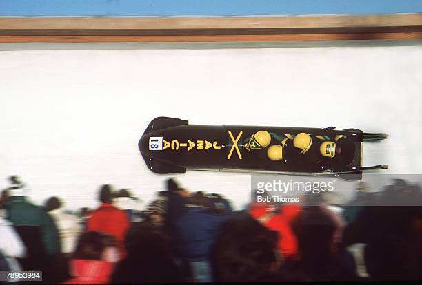 Sport Four Man Bobsleigh 1988 Winter Olympic Games in Calgary Jamaica 1 the first Jamaican team to compete in the Winter Olympics Bobsleigh with team...
