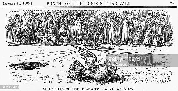 'Sport from the Pigeon's Point of View' 1882 Clay pigeon shooting in the days before clay pigeons From Punch or the London Charivari January 21 1882