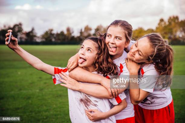 sport girl selfie - sports uniform stock pictures, royalty-free photos & images