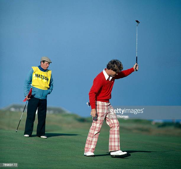 Sport, Golf, 1977 British Open Golf Championship at Turnberry, USA's Tom Watson, the 1977 British Open Golf Champion, celebrates as he sinks a putt,...