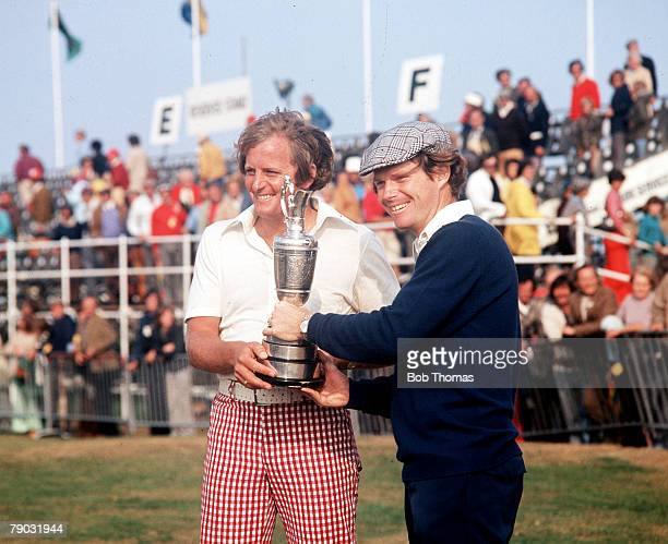 Sport Golf British Open Championship Carnoustie Scotland Australia's Jack Newton and USA's Tom Watson are pictured with the Claret Jug trophy prior...