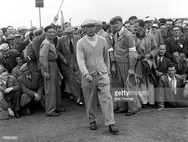Sport Golf British Open Championship Carnoustie Scotland USA's Ben Hogan who won the tournament walks through the gallery of spectators