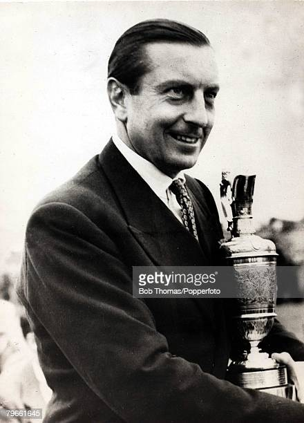 Sport Golf British Open Championship Muirfield Scotland Henry Cotton The picture shows Great Britain's Henry Cotton with the Claret Jug trophy after...