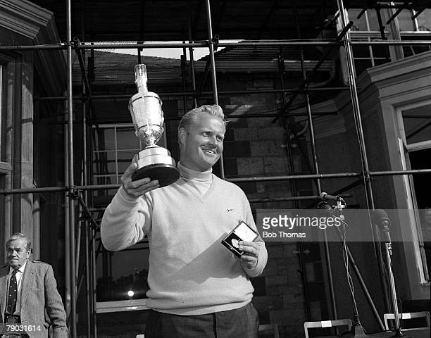 Sport Golf British Open Championship Muirfield Scotland USA's Jack Nicklaus celebrates with the Claret Jug trophy at the presentation after winning...