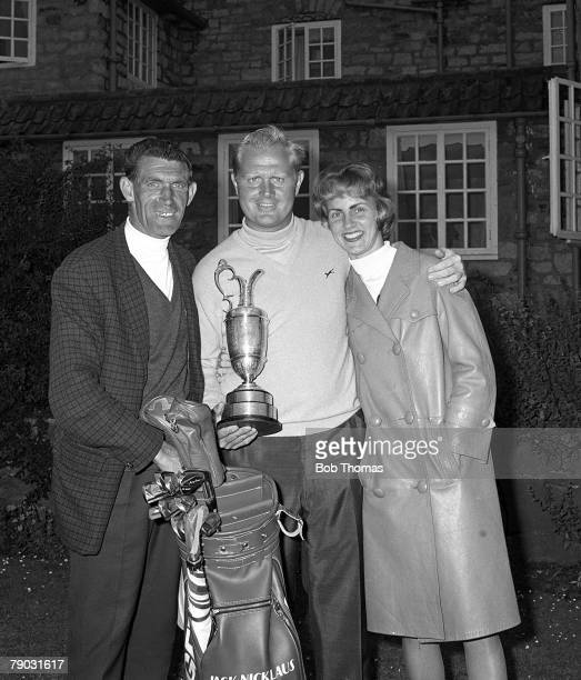 Sport Golf British Open Championship Muirfield Scotland USA's Jack Nicklaus holds the Claret Jug trophy as he celebrates winning the championship...