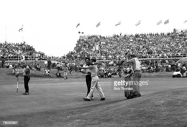 Sport Golf British Open Championship Royal Birkdale Lancashire England USA's Lee Trevino is hugged by Taiwan's Mr Lu after winning the tournament on...