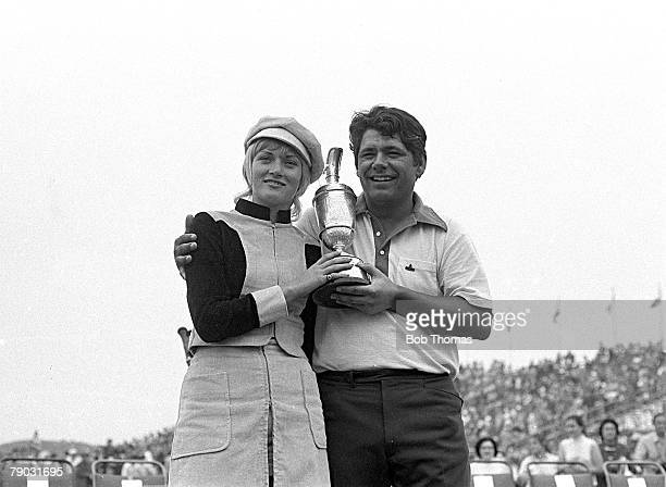 Sport Golf British Open Championship Royal Birkdale Lancashire England USA's Lee Trevino and his wife Claudia celebrate with the Claret Jug trophy at...