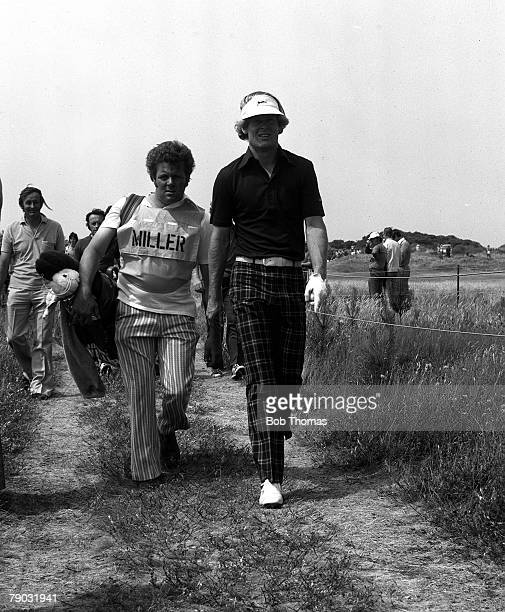 Sport Golf British Open Championship Royal Birkdale Southport England USA's Johnny Miller walks the fairway with his caddy on his way to winning the...