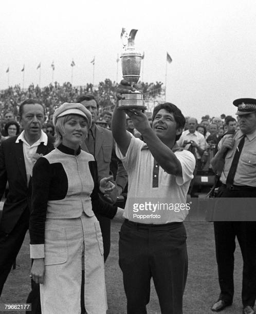 Sport Golf British Open Championship Southport Lancashire England 11th July 1971 USA's Lee Trevino holds the Claret Jug trophy aloft after winning...