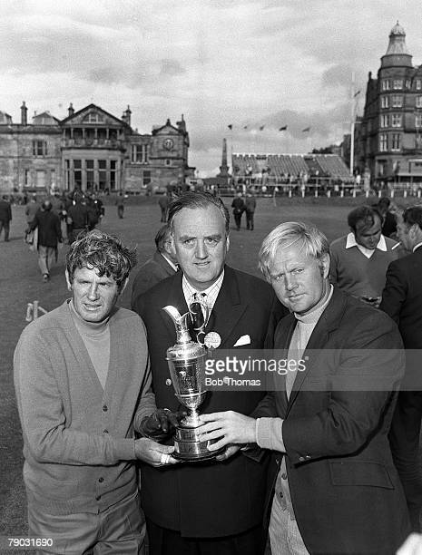 Sport Golf British Open Championship St Andrews Scotland USA's Doug Sanders and Jack Nicklaus are pictured with British politician Willie Whitelaw...