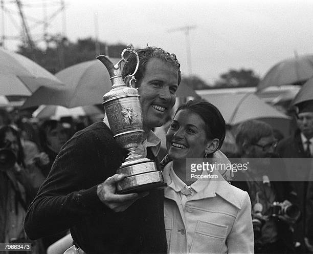 Sport Golf British Open Championship Troon Scotland 16th July 1973 Tom Weiskopf and wife Jeanne proudly pose with the Claret Jug trophy after...