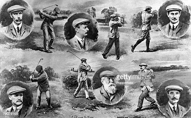 Sport Golf Circa 1907 An illustration by Michael Brown featuring several past winners of the British Open Championship including JH Taylor Harry...