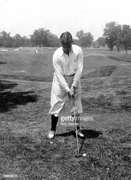 Sport, Golf, Circa 1930, Winged Foot Country Club, Mamaroneck, New York, USA's Bobby Jones,winner of 3 British and 4 U,S,Opens adresses the ball
