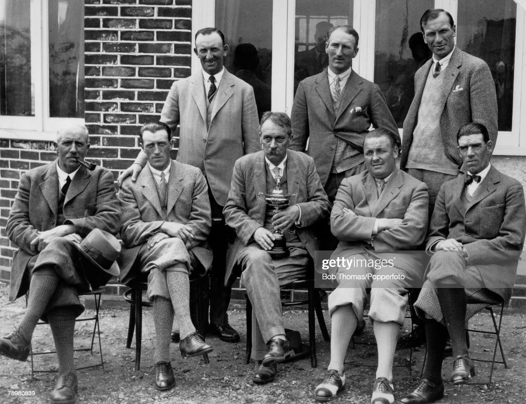 1927, Ryder Cup, Worcester Country Club, Massachusetts, USA, USA, defeated Great Britain and Ireland by 9 1/2 points to 2 1/2 points, The Great Britain and Ireland team photographed with Mr, Samuel Ryder, who is holding the Ryder Cup before the match, Back row, l-r, Fred Robson, Arthur Havers, Archie Compston, Front row, l-r, Ted Ray (captain), Charles Whitcombe, Samuel Ryder, F,G,Gadd, George Duncan