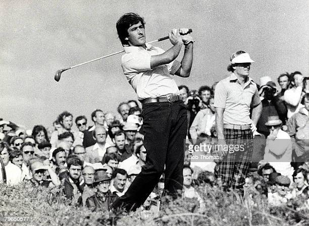 1976 Spain's Severiano Ballesteros born 1957 playing from in the 1976 British Open Golf Championship with playing partner USA's Johnny...