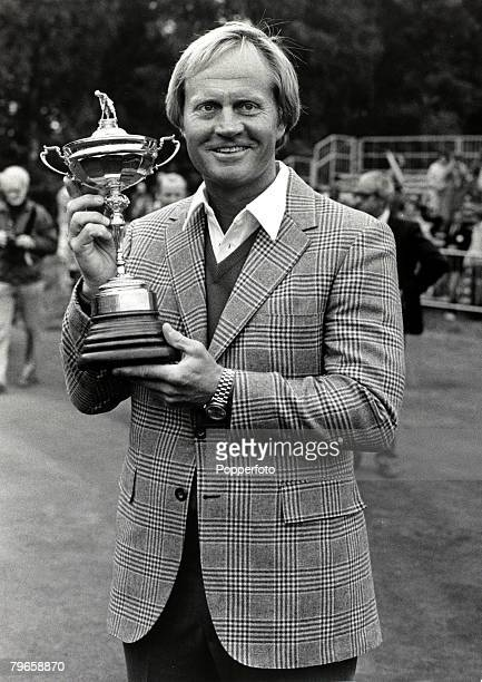 20th September 1981 The Ryder Cup at Walton Heath Surrey Europe 9 1/2 v USA 18 1/2 American golfer Jack Nicklaus of the American Ryder Cup team with...